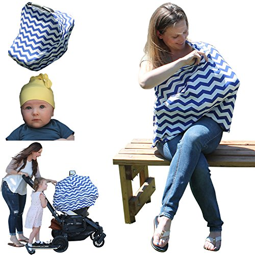 Ideal4Mommy Baby Car Seat Canopy – Stretchy Breastfeeding Nursing Cover – Best Multi-use Stroller, Shopping Cart, Infinity Scarf Shawl, Boys & Girls Carseat Covers