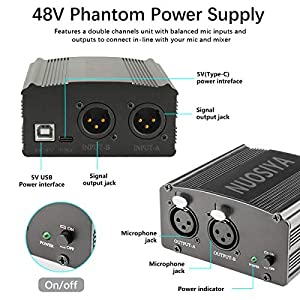 Phantom Power Supply, NUOSIYA 2-Channel 48V Phantom Power Supply, Stable Power Supply, Improved Shielding Technology, Anti-noise, for Any Condenser Microphone Music Recording Equipment (Color: D)