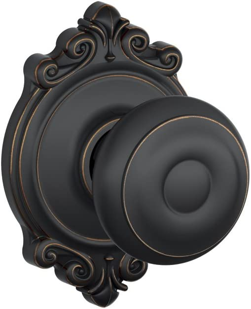 Schlage F10 GEO 716 BRK Brookshire Collection Georgian Passage Knob, Aged Bronze