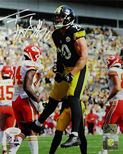 684921cf5 Image Unavailable. Image not available for. Color  TJ Watt Autographed  Pittsburgh Steelers 8x10 PF Photo Jumping vs KC- JSA W Auth