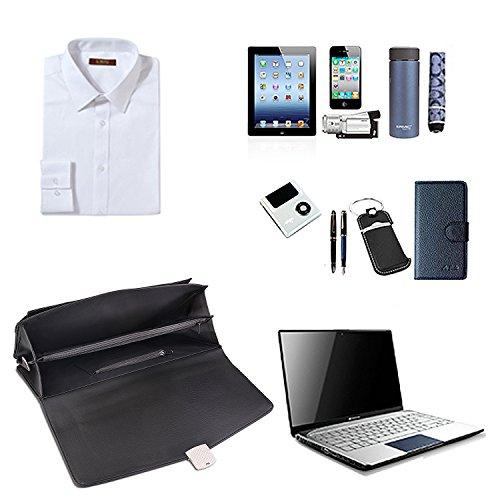 Jack&Chris® MBYX012 Aktentasche aus PU-Leder, Kuriertasche, Laptop-Tasche