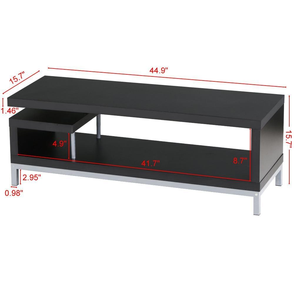 Yaheetech Black Wood TV Stand Console Table Home Entertainment Center Media Cabinets with Steel Leg for Flat Screens by Yaheetech (Image #2)
