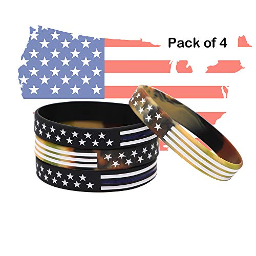 AVEC JOIE USA Rubber Wristbands Silicone Bracelet with American Flag in Black and Army Green for American Patriots, Army and Sport Fans Pack of (Army Band Bracelet)