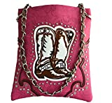 western boot stitched floral embossed small crossbody messenger purse (PINK)