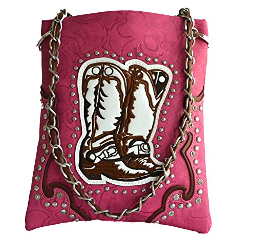 western boot stitched floral embossed small crossbody messenger purse (PINK) by Stony West