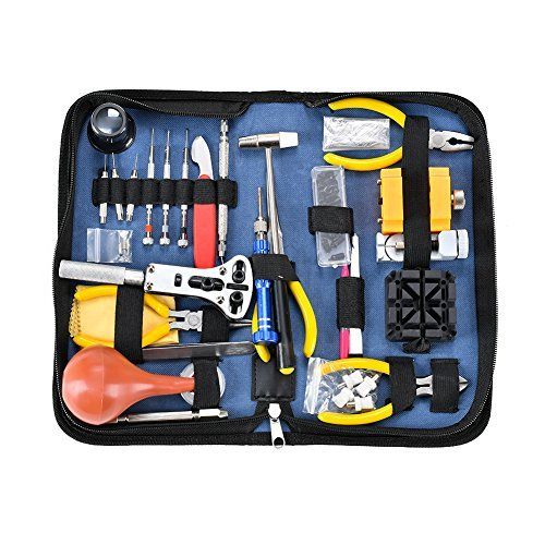 Deluxe Watch Repair Tool Kit - Watch Tools Adjustable Band Link Pin Case Opener Spring Bar Tool Set (141pcs)