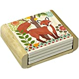 CounterArt Absorbent Coasters in Wooden Holder, Woodland Friends Fox, Set of 4
