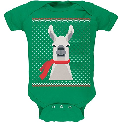 Old Glory Ugly Christmas Sweater Big Llama Kelly Green Soft Baby One Piece - 6 Month