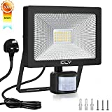 CLY 30W Security Lights with Motion Sensor, Led floodlight with UK Plug, 3000Lumens High Brightness IP66 Waterproof PIR Lights Outdoor for Garden, Forecourt, Garage and Pathway, 3000K Warm White