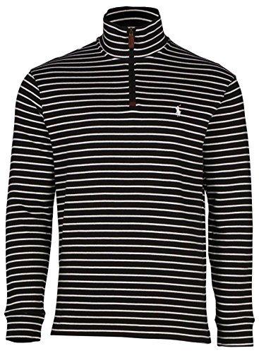 Polo Ralph Lauren Men's Half Zip Ribbed Mock Neck Sweater (L, Polo Black/White)