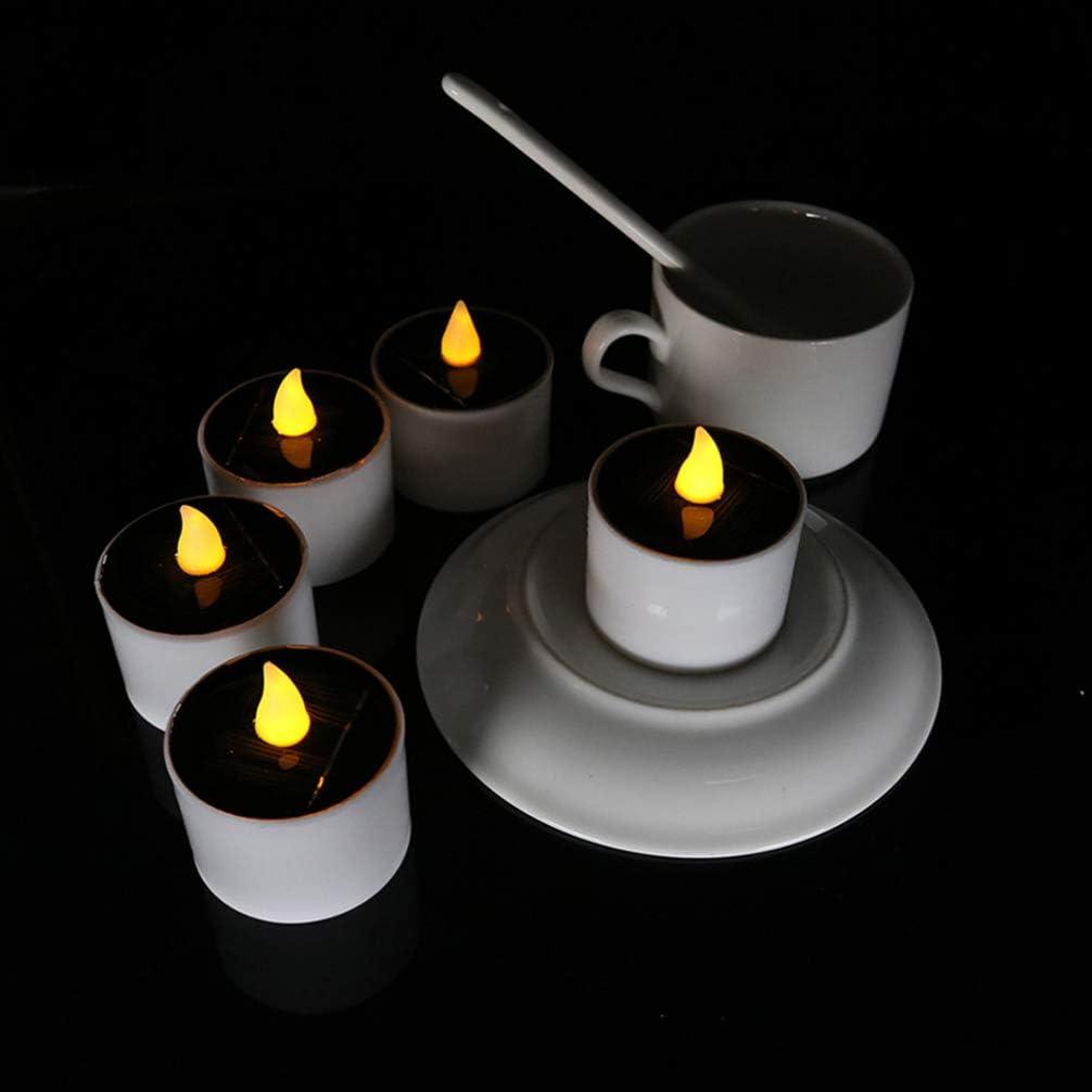 OSALADI 2 piezas luces de velas led con energ/ía solar l/ámparas de velas sin llama parpadeantes velas electr/ónicas a prueba de agua vela para decoraciones de cumplea/ños de bodas de navidad