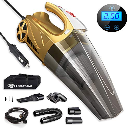 LB LECHEBANG Air Compressor Car Cleaner Hand Held Wet Dry DC 12V High Power Vacuum Tire Inflator and LED for Lighting-HEPA Filter ... (Gold) (Digital Control Meter)