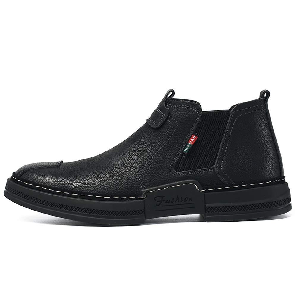 Shufang-shoes, Zapatos Mocasines para Hombre 2018 Zapatos de tacón Plano Recubiertos de Granadina y pie Zapatos de Cuero de PU para jóvenes (Color : Negro, ...