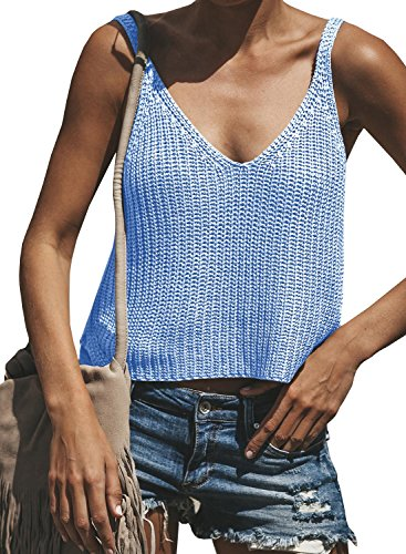 less Spaghetti Strap V Neck Tank Tops Crop Knit Sweater Vest ()