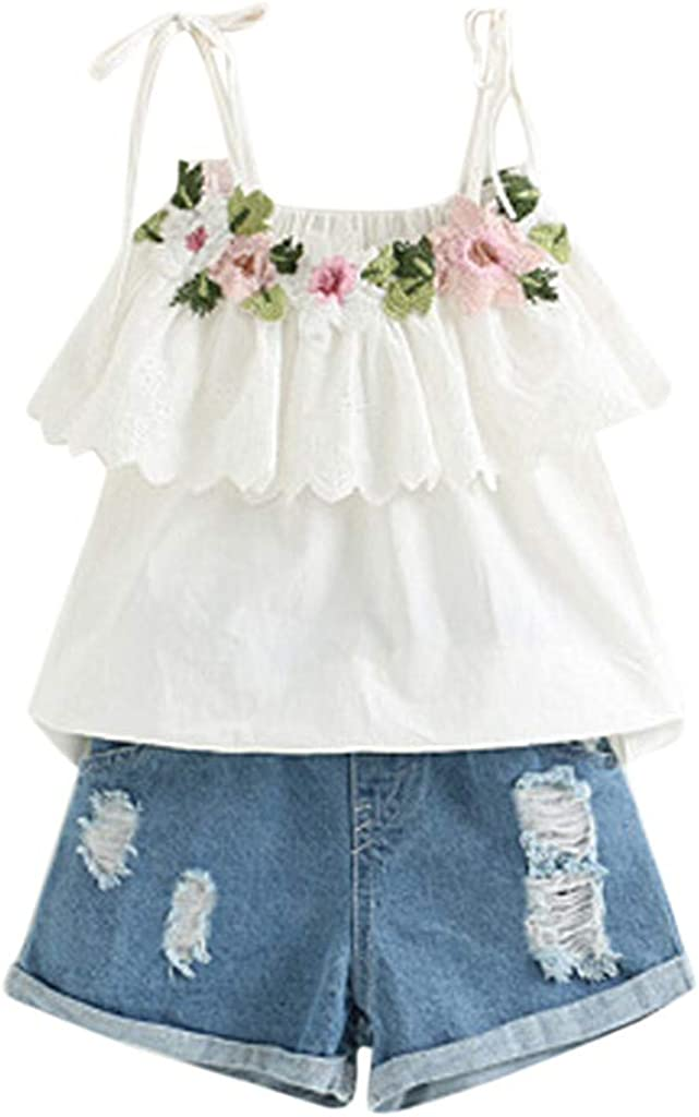Alni Summer Fashion Casual Cute Toddler Kids Baby Girl Outfits Clothes Embroidery T-Shirt+Denim Shorts Jeans Set for 2-3 Years White