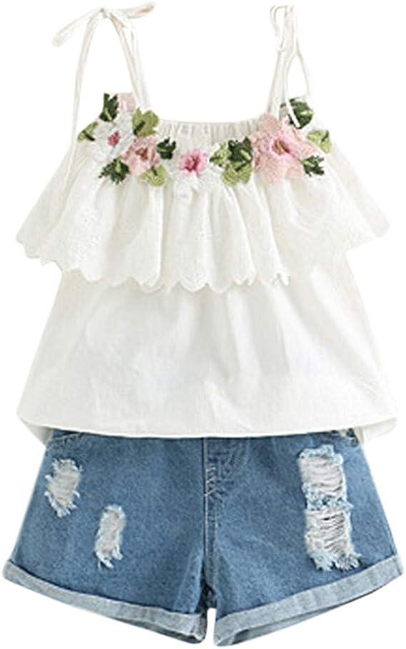 Allence Kleinkind Kind Baby Jungen Outfits Brief Tops T-Shirt Denim Loch Hosen Jeans Sets