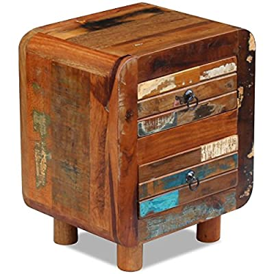 Handmade Reclaimed Solid Wood Bedside Nightstands Cabinet with 2 Drawers