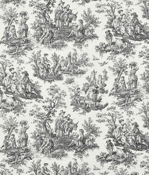 Waverly Rustic Toile Black Fabric - by the Yard