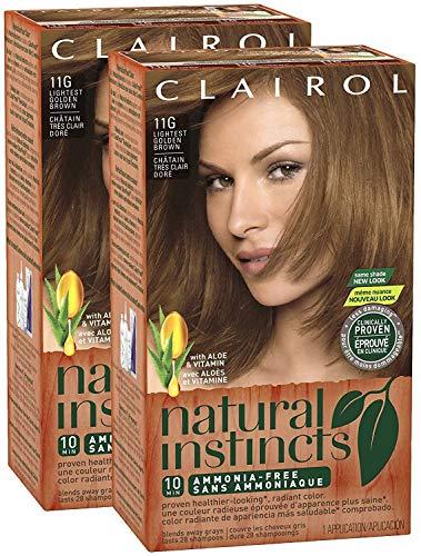 - Clairol Natural Instincts, 011G, Amber Shimmer, Lightest Golden Brown, 2 pk