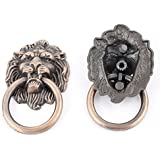 2pcs Vintage Style Cupboard Cabinet Door Lion Ring Pull Knobs Handle