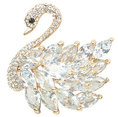 (Gyn&Joy Women's Austrian Crystal Cubic Zirconia Elegant Swan Bird Bridal Brooch Pin BZ197)
