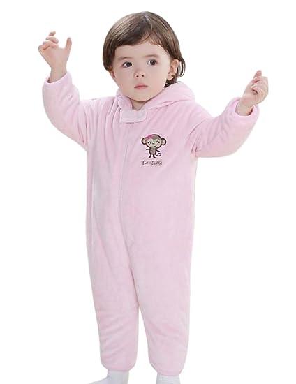 Happy Cherry Mameluco Peleles Mono Pijama de Una Pieza de Invierno para Bebés Patrón de Mono