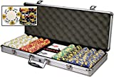 Premium Set of 500 Tri-Color Ace-King 11.5 gram Poker Chips w/6 Dealer Buttons, Case, Cards, & Dice