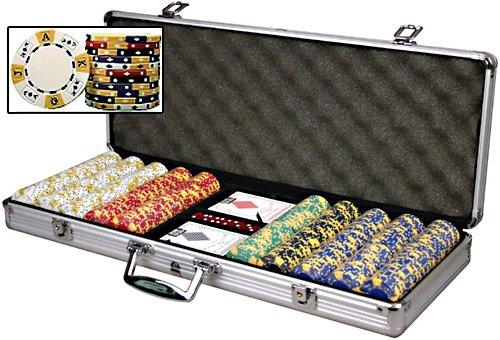 Premium Set of 500 Tri-Color Ace-King 11.5 gram Poker Chips w/6 Dealer Buttons, Case, Cards, & Dice by Las Vegas Poker Chips