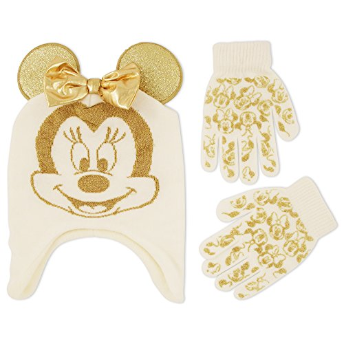 Minnie Mouse Ears And Glove Set (Disney Little Girls Minnie Mouse Character Hat and Glove Cold Weather Set, Age 4-7)