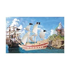 Pirate Ship Wooden 3D Puzzle - 139 Pieces + Paint Set