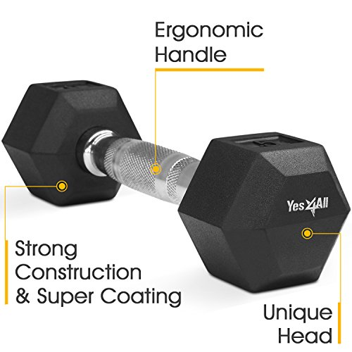 Yes4All Rubber Hex Dumbbell (Single) – 5, 10, 15, 20, 25, 30, 35, 40, 45 and 50 lbs