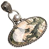 StarGems(tm) Natural Moss Agate and River Pearl Handmade Indian 925 Sterling Silver Pendant 1 1/2""