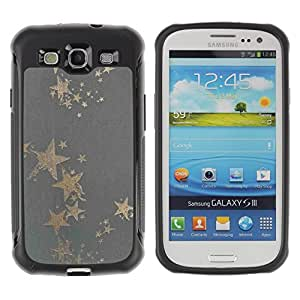 iArmor / Gold Star Grey Bling Pattern Fabric Textile / Samsung Galaxy S3 I9300