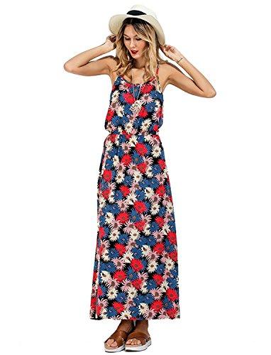 Vacance Floral Manches Bretelles Imprim Bohme Nu d'Et Longue Robe Party Dos DIARY Femme Sans Noir Plage CHIC pr Floral qxYP0awY