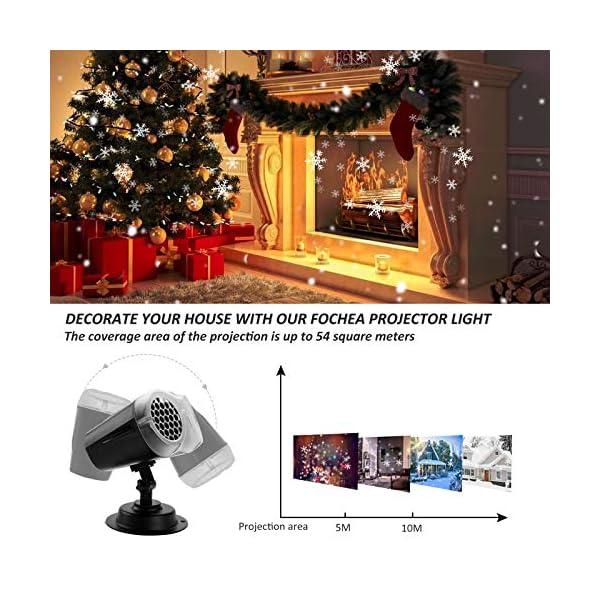 Proiettore Luci Natale LED, FOCHEA Proiettore Fiocchi di Neve Esterno e Interno Impermeabile con Telecomando RF per Decorazioni da Natale, Halloween, Matrimonio, Giardino 3 spesavip