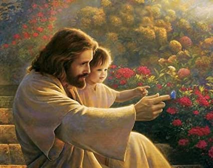 Amazon Com Real Hand Painted Jesus Christ And The Little Boy Canvas