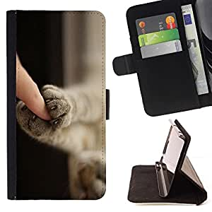 For Samsung Galaxy S4 Mini i9190 Kitten Paws Cute Shorthair Claws Cat Beautiful Print Wallet Leather Case Cover With Credit Card Slots And Stand Function