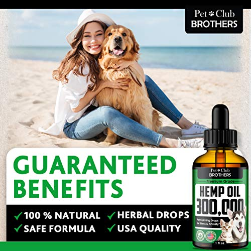 Hemp Oil for Dogs & Cats 300,000 - Premium Hemp Seed Oil - Grown & Made in USA - Supports Hip & Joint Health - Natural Stress & Anxiety Relief - Pet Omega 3, 6 & 9-1 fl oz (30ml)