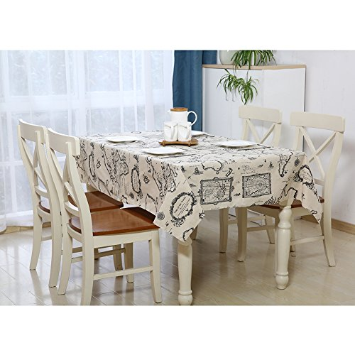 Stain Resistant Rectangular World Map Tablecloths with Cotto
