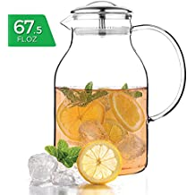 Tealyra - Glass Carafe 68 ounce - Stove-Top Safe - Heat Resistent Borosilicate - Large Pitcher - Teapot - Kettle - Hot and Iced Tea Water Juice Beverage - 2000ml