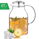 68 oz pitcher - Tealyra - Glass Carafe 68 ounce - Stove-Top Safe - Heat Resistent Borosilicate - Large Pitcher - Teapot - Kettle - Hot and Iced Tea Water Juice Beverage - 2000ml