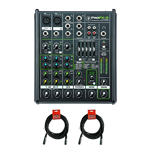 New Mackie PROFX4v2 4 Channel Compact Mixer w Effects PROFX4 V2 + (2) XLR Cables (Live Audio Sound Mixer)