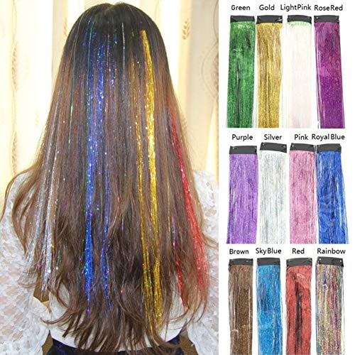 Dsoar Tinsel Hair Extensions 12 Colors Hair Tinsel Strands Kit Sparkling Shiny Hair Flair Party Highlights Glitter Extensions Bling Synthetic Hairpieces