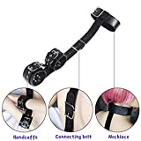 LUCKY YXL Restraints Black Faux Leather Wrist Cuffs Connect with Neck Collar Bondage Slave Harness Life for Female