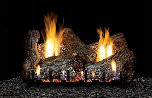 White Mountain Sassafras Vent Free 24″ Gas logs with On/Off and Variable Flame Height Control Remote – Natural Gas