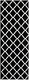 Cheap Super Area Rugs Contemporary Black Trellis Rug 2-Foot 7-Inch x 7-Foot 10-Inch Designer Rug Runner