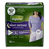Depend Night Defense Incontinence Overnight Underwear for Women, L, 14 Count