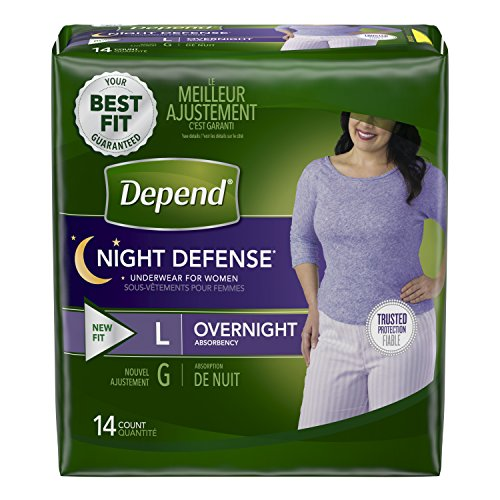 Coupons Maxi Pads - Depend Night Defense Incontinence Overnight Underwear for Women, L, (Packaging May Vary)