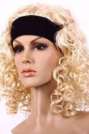 70er 80er Jahre Damen Perucke Blond Mit Haarband Sexy Lockenperucke