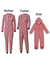 Christmas Family Matching Pajama Red Striped Sleepwear Sets for Adult and Baby